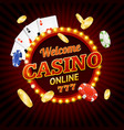 welcome casino concept light bulbs vintage neon vector image