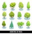 Isometric 3D trees landscape elements set vector image