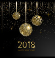 2018 happy new year background with golden glitter vector image vector image