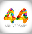 44 years anniversary circle colorful logo vector image vector image