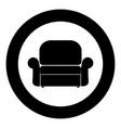armchair icon black color in circle vector image