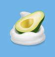 avocado fruit in yogurt or milk 3d vector image vector image