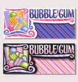 banners for bubble gum vector image