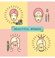 Beauty banner Beautiful woman set line icon art