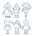 black and white set of cute cartoon robots vector image