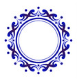 blue and white floral decorative round vector image vector image