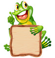 board template with cute frog on white background vector image vector image