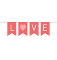 bunting flag garland happy valentines day pink vector image vector image