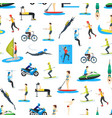 cartoon extreme sports people seamless pattern vector image