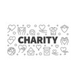 charity and donation line horizontal banner vector image vector image