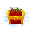 christmas chest in cartoon style festive chest vector image vector image