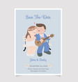 cute chubby couple playing guitar wedding vector image vector image