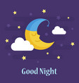 cute crescent moon in nightcap vector image