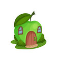 cute fantasy house in form of ripe apple vector image vector image