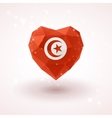 Flag of Tunisia in shape diamond glass heart vector image vector image