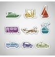 flat retro color stickers - set nine vector image vector image