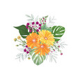flower bouquet over white background floral vector image vector image