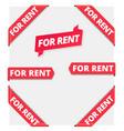 for rent corner ribbon label banners set flag vector image