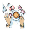 girl sits in cafe and drinks coffee vector image vector image