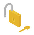 golden unlocked padlock and key isometric view vector image vector image