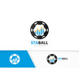 graph and soccer logo combination diagram vector image vector image
