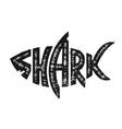 grunge shark logo design vector image vector image