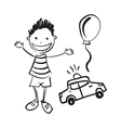 hand drawn boy with toys vector image vector image