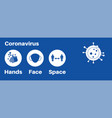 hands space face covid-19 information vector image vector image