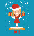 happy new year 2018 card santa with gift boxes vector image vector image