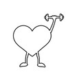 heart with dumbbells in hand linear icon vector image