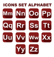 Icons set alphabet on the red background