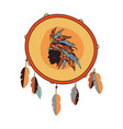 indian tambourine with native american vector image