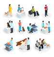 isometric veterinary clinic set vector image vector image