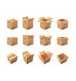 large set brown cardboard packing boxes vector image
