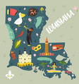 louisiana cartoon map with landmarks and symbols vector image vector image