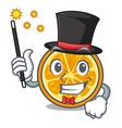 magician orange mascot cartoon style vector image