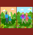 man and woman in park friends walking vector image vector image
