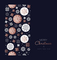 merry christmas copper snowflake pattern card vector image vector image