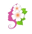 profile of woman with flowers vector image vector image