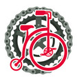 retro bicycle with chain and sprocket vector image vector image