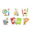 set images children with huge school vector image vector image