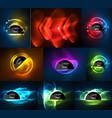 set of glowing neon light effects digital vector image