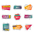 set of isolated price tags or discount signs vector image vector image