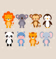 set with cute animals vector image vector image
