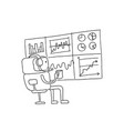 sketch robot alien character keeps track of the vector image vector image