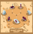 smart home color concept isometric icons vector image vector image