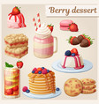 strawberry dessert collection cartoon style vector image vector image