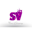 sv s v dots letter logo with purple bubbles vector image