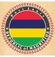 Vintage label cards of Mauritius flag vector image vector image