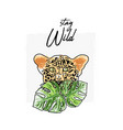 wild feline tropical hand drawn leopard character vector image vector image